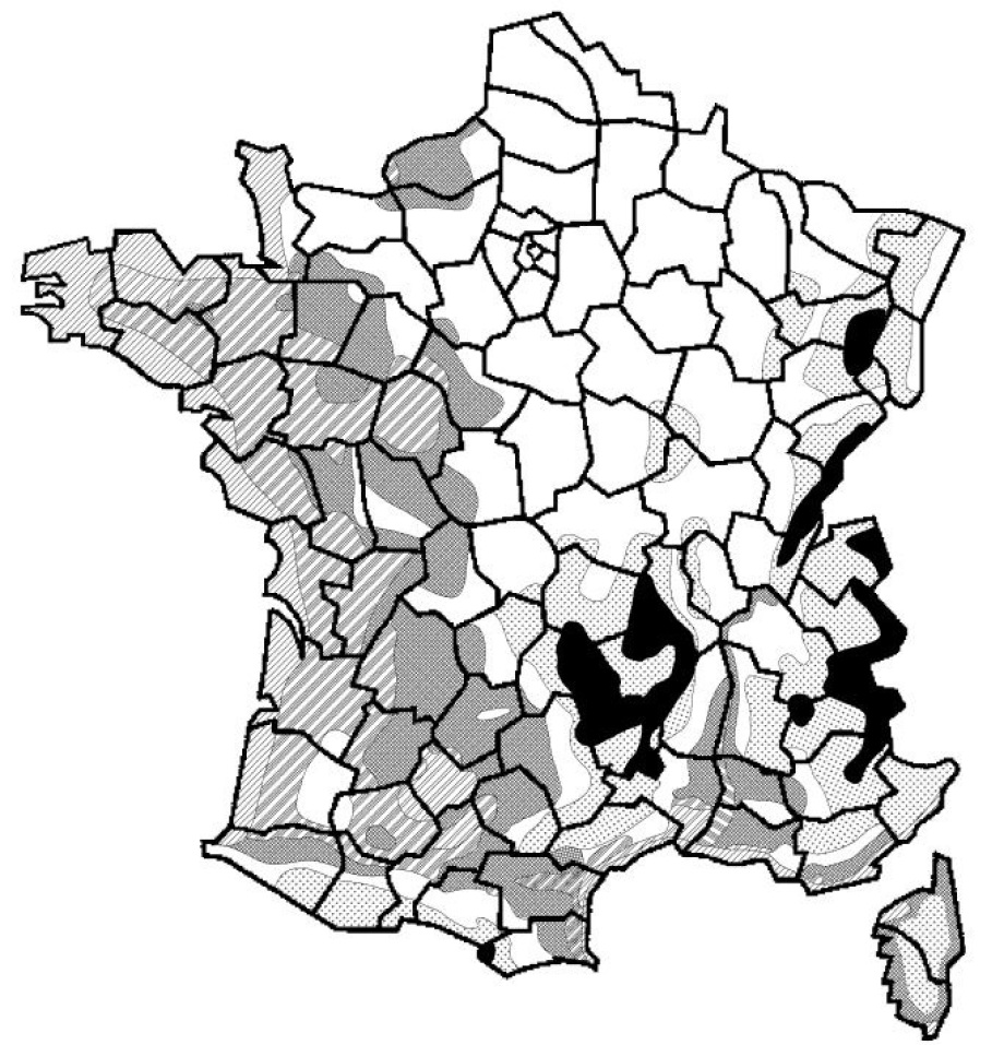 Carte de France des zones de gel pour dallage pierre naturelle